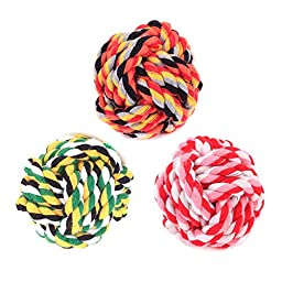 Dog Knots Ball By Guardians 3-Pack Rope Toy Durable Medium Pet Chew Toys Diameter 2.75 Inches Aggressive Chewers