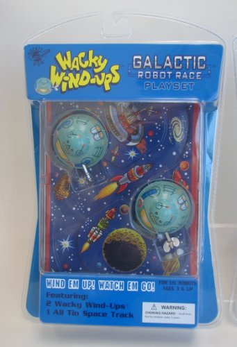 Wacky Wind-ups Galactic Robot Race Playset Tin Toy