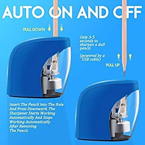 Kids Friendly and Safety Design Pencil Sharpener for NO.2 Pencils Home and Office Electric Pencil Sharpener USB Cable Included Auto Feature for Classroom