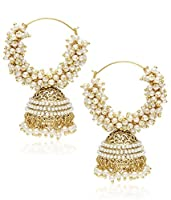 Youbella Pearl Gold Hoop Earrings For Women/Girls