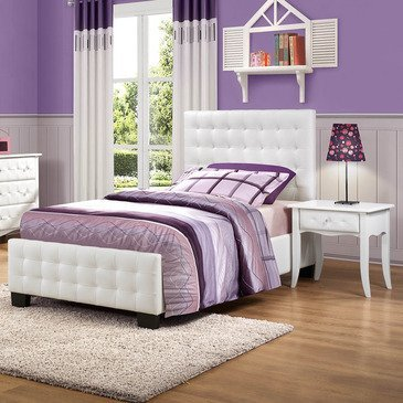 Homelegance Sparkle 2 Piece Upholstered Bedroom Set In White Bi-Cast Vinyl