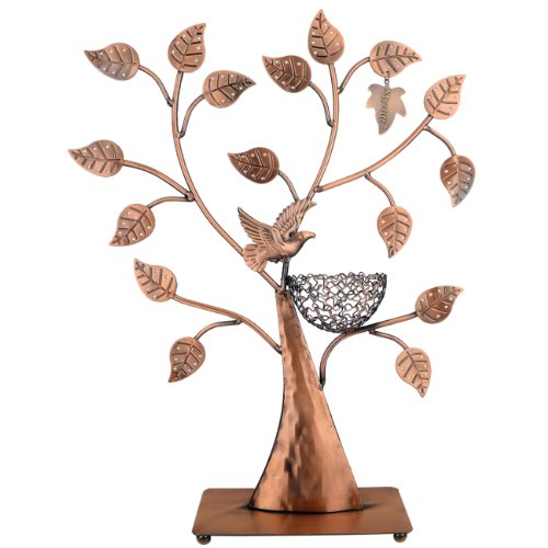 MyGift® Jewelry Tree Bird Nest Table Top Décor 48 pair Earrings Holder / Bracelets Necklace Organizer Stand Display Tower