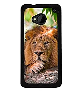 Fuson Premium 2D Back Case Cover Lion on rocks With Multi Background Degined For HTC One M7::HTC M7