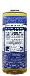 Dr. Bronner's Magic Soaps Pure-Castile Soap, 18-in-1 Hemp Peppermint, 32 Ounce Bottle