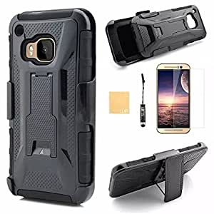 HTC One M9 Case, HTC One M9 Holster Case, SLMY(TM) Hybrid Heavy Duty Rugged Dual Layer Armor Defender Case with Kickstand + Belt Clip Holster For HTC One M9,with Screen Protector, Stylus and Cleaning Cloth Black/Black