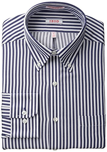 IZOD Men's Slim Fit Stripe, Navy, 16/34-35