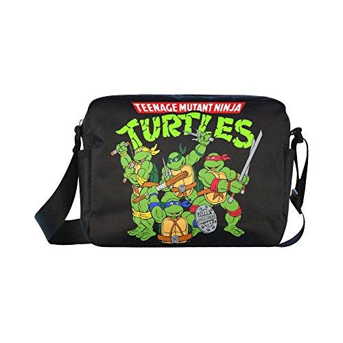 DOROT Teenage Mutant Ninja Turtles TMNT Unisex Nylon Waterproof Material Black Cross-body Nylon Bags Shoulder Bag