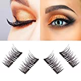 New Dual Magnetic False Eyelashes - 1 Pairs (4 Pieces) Ultra Thin 3D Fiber Reusable Best Fake Lashes Extension for Natural, Perfect for Deep Set Eyes & Round Eyes Black and Brown