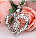 Heart Necklace Sparkling Silver Pendant & FREE Zebra Striped Pattern Gift Box Included