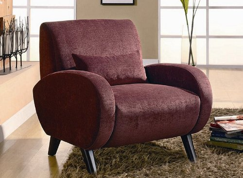 accent chair with rounded track arms in burgundy chenille
