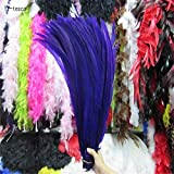 Maslin 50pcs 45-50CM/long Silver Pheasant Tail Feathers DIY Wedding Decorations Lady Amherst red Silver Chicken Feather Plume - (Color: Purple) (Color: purple)