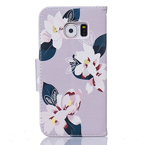Cozy Hut® Samsung Galaxy S6 Edge Housse, Ultra-mince Etui En Cuir PU Flip Cassette Intérieur Pour Cartes Pour Samsung Galaxy S6 Edge - Gris lily