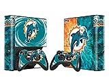 Miami Dolphins Sticker Skin Set for Microsoft Xbox 360E Console+Controllers