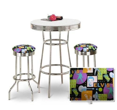 Cheapest Chrome Bar Table & 2 Chrome Elvis Presley Fabric