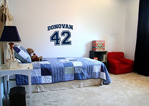 Sports Jersey Custom Name and Number Vinyl Wall Words Decal Sticker Graphic (Adhesive Jersey Numbers compare prices)