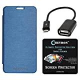 Chevron Flip Cover With Chevron HD Screen Guard & Micro OTG Cable For Micromax Yu Yureka AO5510 (Aqua Blue)