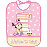 Minnie Mouse 1st Birthday Plastic Bib (1ct)
