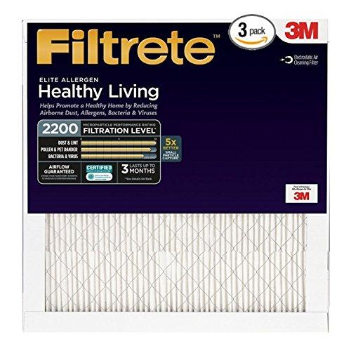 Filtrete Elite Allergen Healthy Living #2200 20x20x1 ( 3 pack) (3m Filtrete Filters 1900 compare prices)