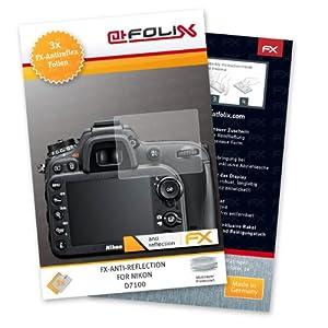 atFoliX FX-Antireflex Protection d'écran pourNikon D7100 (3 pièces) - protection d'écran antiéblouissante!