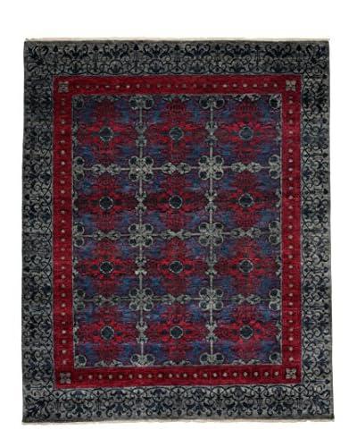 Darya Rugs Suzani Oriental Rug, Silver/Raspberry, 8′ 2″ x 9′ 10″