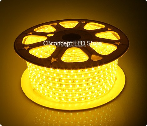 Cbconcept® 90Ft Yellow 120 Volt High Output Led Smd5050 Flexible Flat Led Strip Rope Light - [Christmas Lighting, Indoor / Outdoor Rope Lighting, Ceiling Light, Kitchen Lighting] [Dimmable] [Ready To Use] [7/16 Inch Width X 5/16 Inch Thickness]