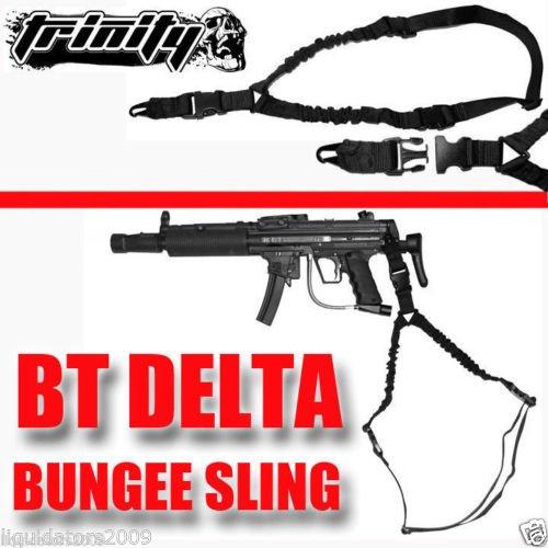 Trinity Cobra Sling Black For Bt Delta Paintball Gun, One Point Bungee Sling For Bt Delta Paintball Gun, Tactical Sling For Bt Delta Paintball Gun, Rifle One Point Bungee Sling For Paintball Guns, Tippmann Paintball, Bt Paintball, Rap4 Paintball, Woodsbal