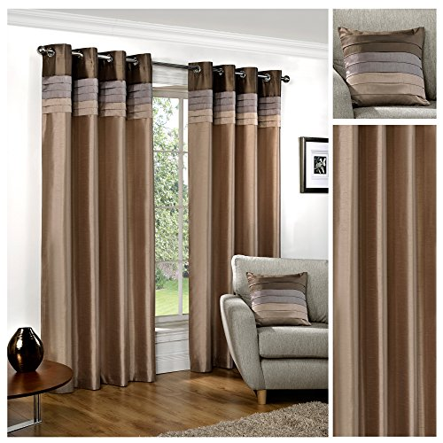 Hamilton McBride Seattle Natural Ring Top   Eyelet Fully Lined Readymade Curtain Pair 90x90in(228x228cm) Approx...