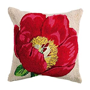 Red Poppy Decorative Pillow : Amazon.com - Hooked Flower Pillows, 18
