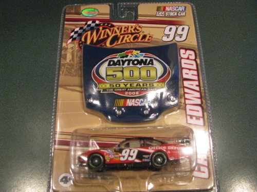 2008 Carl Edwards #99 Office Depot Ford 1/64 Scale Car & Daytona 500 50th Running Commemorative Magnet Hood Winners Circle