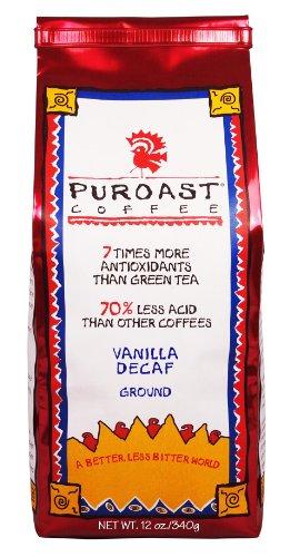 Puroast Low Acid Coffee Vanilla Natural Decaf Ground, 12 Oz.  Bag (Pack Of 2)