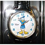Donald Duck Mens Watch - Chrome & Black Leather