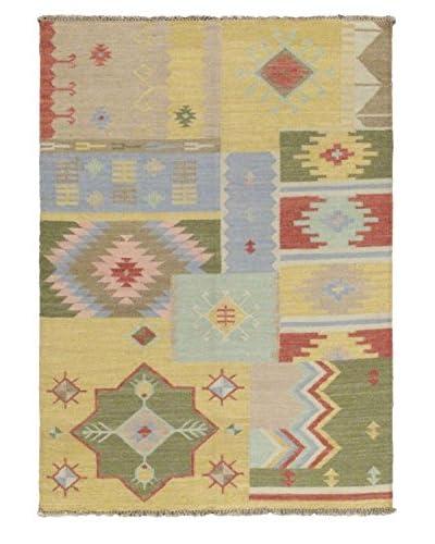 Oak Rugs Hand-Woven Izmir Wool Kilim, Khaki, 4' 7 x 6' 7