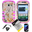 4 items Combo: ITUFFY(TM) LCD Screen Protector Film + Mini Stylus Pen + Case Opener + Silver Pine Tree Leaves Camouflage Outdoor Wildlife Design Rubberized Hard Plastic + Pink Soft Rubber TPU Skin Dual Layer Tough Hybrid Case for Samsung Galaxy Centura S738C / Samsung Galaxy Discover S730G (Straight Talk / Net10/ TracFone)