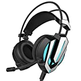 Honstek G9 Gaming Headset, USB and 3.5mm Stereo Surround LED Lighting Vibration Headphones with Microphone and Volume Control, Compatible for Laptop PC Computer (Black/Silver)
