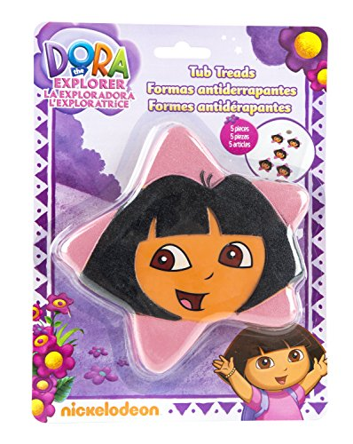 Nickelodeon Dora the Explorer Star Tub Treads - Includes 5 Non-Slip Treads - Pink