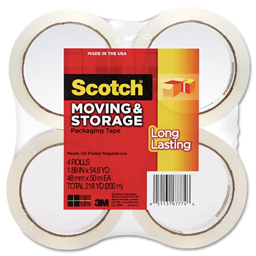 "Moving/Storage Tape, 1-7/8""x54.6 Yards, 4/PK, Clear, Sold as 1 Package"