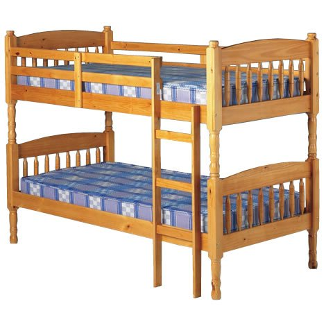Albany Pine Bunk Bed with Kids Memory Foam Mattresses