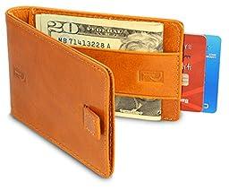 RFID Blocking Bifold Front Pocket Wallets for Men - Minimalist Slim Wallet - Secure Genuine Leather Credit Card Protectors(Brown)