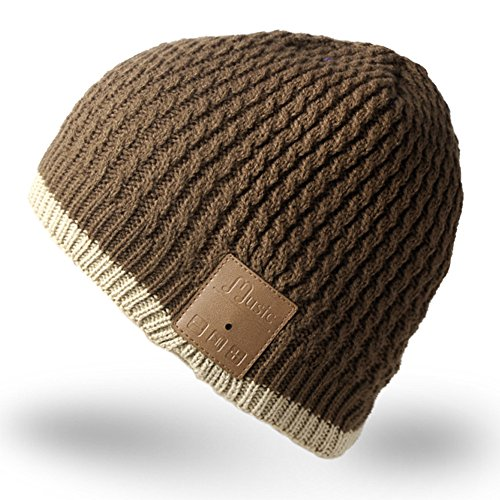 Mydeal Washable Bluetooth Beanie Hat Music Cap with Wireless Stereo Over Ear Headphone Headset Earphone Speaker Microphone Hands Free for Iphone Ipad Samsung Android Cell Phones,Christmas Gift – Brown
