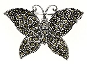 Central World Glitzy Rocks Sterling Silver Marcasite Butterfly Pin