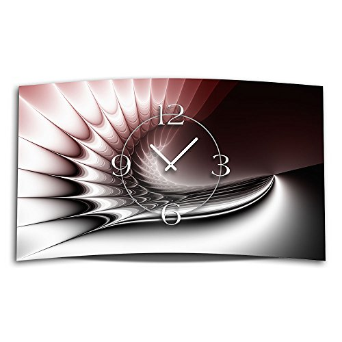 digital art rot designer wanduhr modernes wanduhren design 28cm x 48cm leise kein ticken dixtime. Black Bedroom Furniture Sets. Home Design Ideas