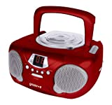 Groov-e GVPS713RD Boombox - Portable CD Player with Radio - Red