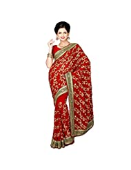 Indian Magnetic Maroon Colored Embroidered Faux Georgette Saree By Triveni