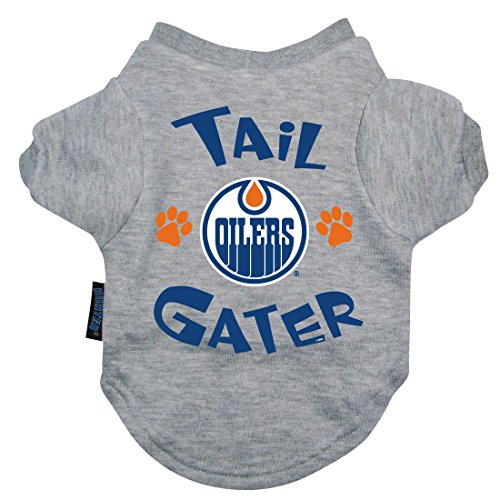 NHL Edmonton Oilers Hunter Tail Gater Pet T-Shirt, Small, Gray (Custom Costumes In Edmonton)