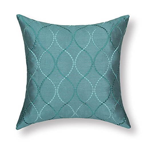 "Euphoria Contempo Decorative Throw Pillow Cushion Covers Pillowcase Shell Faux Silk Teal Waves Embroidery 18"" X 18"" front-1015793"