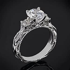 Silver Engagement Ring - Womens 925 Sterling Silver Engagement/Wedding Trilogy Bridal Ring Set (S)