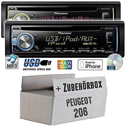 Peugeot 206 - Pioneer DEH-X3800UI - CD/MP3/USB Autoradio - Einbauset