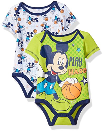 Disney Baby Boys' Mickey Mouse Adorable Soft Two-Pack Bodysuits, Play Hard Lime, 3-6 Months
