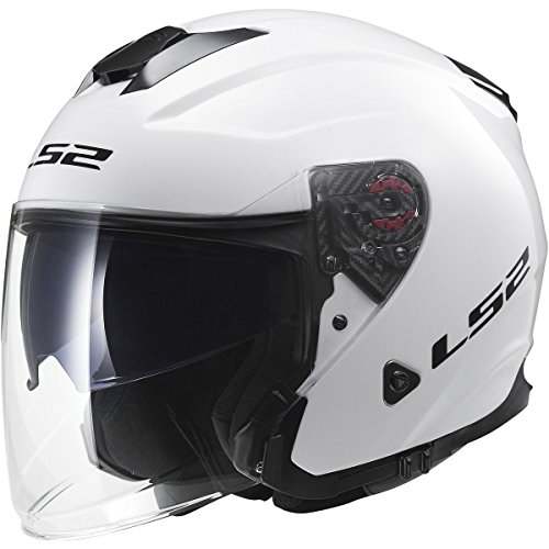 LS2 Helmets Infinity Solid Open Face Motorcycle Helmet with Sunshield (White, Small)