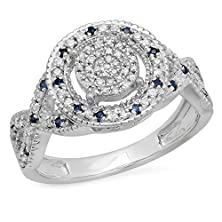 buy Sterling Silver Round Blue Sapphire & White Diamond Ladies Micro Pave Engagement Ring (Size 6)